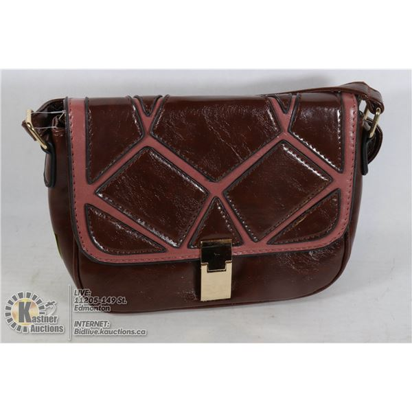 LEATHER STYLE HANDBAG WITH MAGNETIC CLASP
