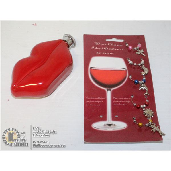 HOT LIPS DRINK FLASK & WINE CHARMS