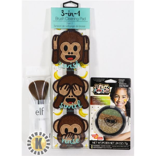 NEW MAKEUP COMPACT WITH ELF BRUSH AND BRUSH CLEANE