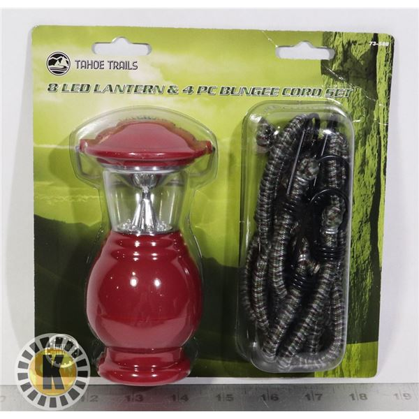 NEW LED LANTERN WITH 4 PC BUNGEE CORD SET