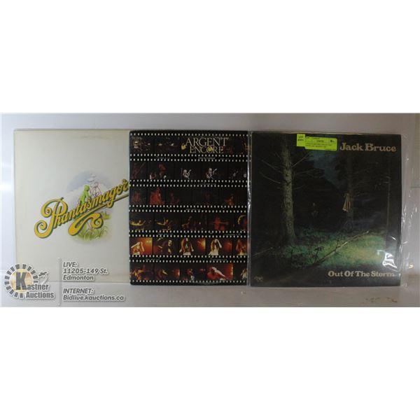 3 ESTATE RECORD COLLECTION VINYL LPS. ARGENT / JAC
