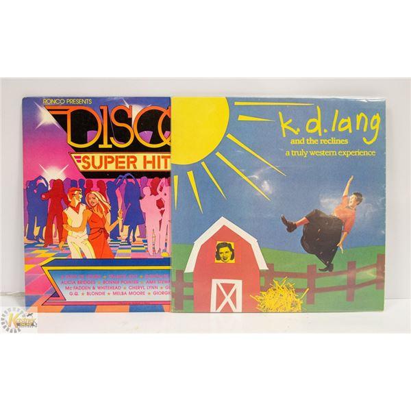 2 X RECORDS K.D. LANG & DISCO HITS
