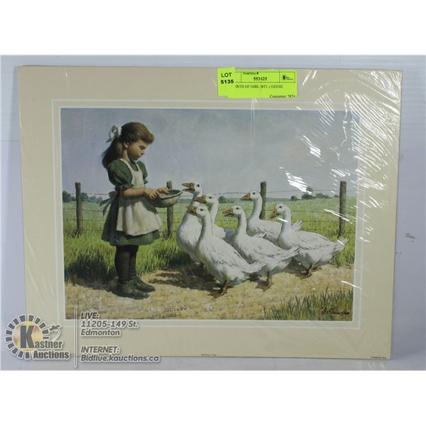 2 PRINTS OF GIRL WITH GEESE