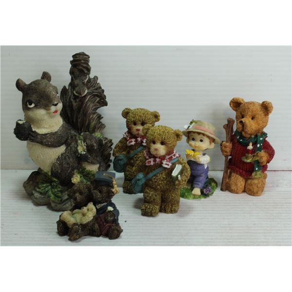 6 FIGURINES- CUTE SQUIRREL, 4 BEARS AND A BOY WITH