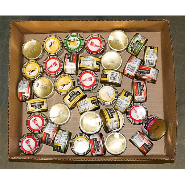 FLAT LOT OF ASSORTED CLOVER LEAF CANS