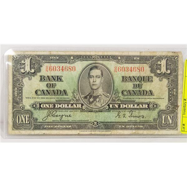 CANADIAN DOLLAR 1937 $1 BILL