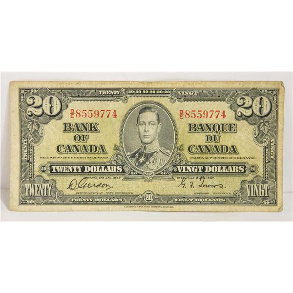 CANADIAN DOLLAR 1937 $20 BILL
