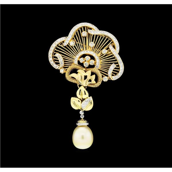 2.65 ctw Diamond and Pearl Pendant-Pin - 18KT Yellow Gold