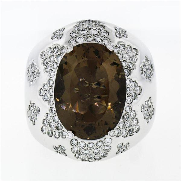 Large Bold 18K White Gold Oval Smoky Quartz 2.50 ctw Diamond Cluster Cocktail Ri