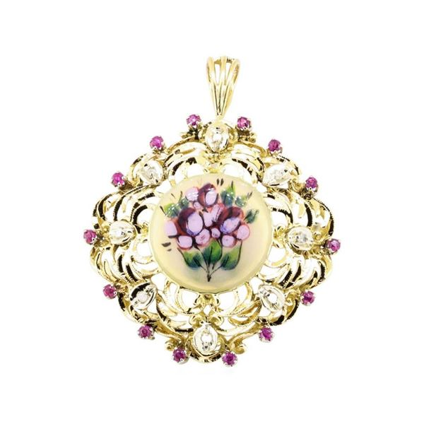 0.76 ctw Ruby And Diamond Pendant-Pin - 18KT Yellow And White Gold