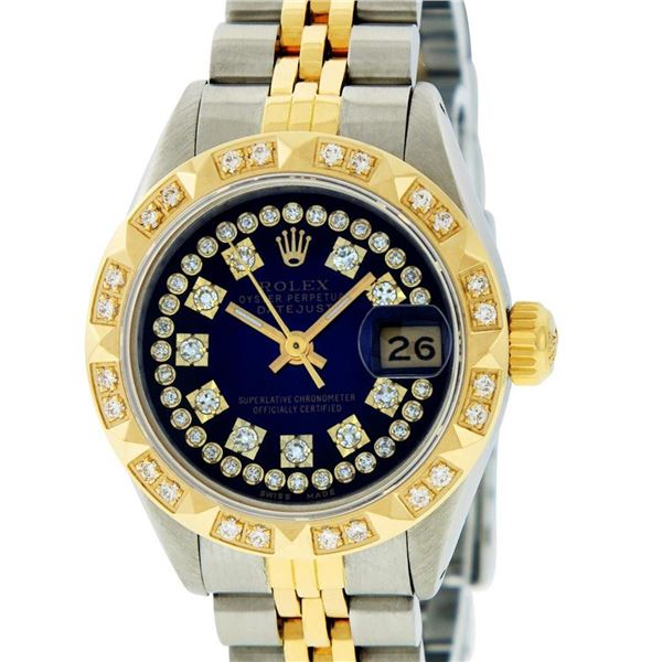 Rolex Ladies 2T YG/SS Blue Vignette String Pyramid Diamond Oyster Perpetual Date