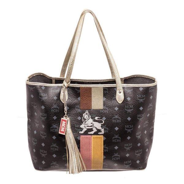 MCM Black Large Lion Shopper Shoulder Bag