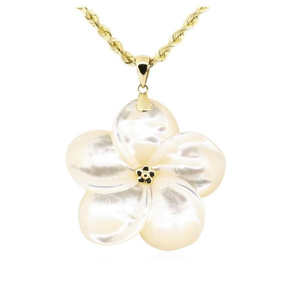 Plumeria Shaped Mother of Pearl Pendant and Chain - 14KT Yellow Gold