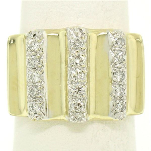 Italian 14K Solid Yellow Gold .35 ctw G VS Diamond Vertical Grooved Wide Band Ri