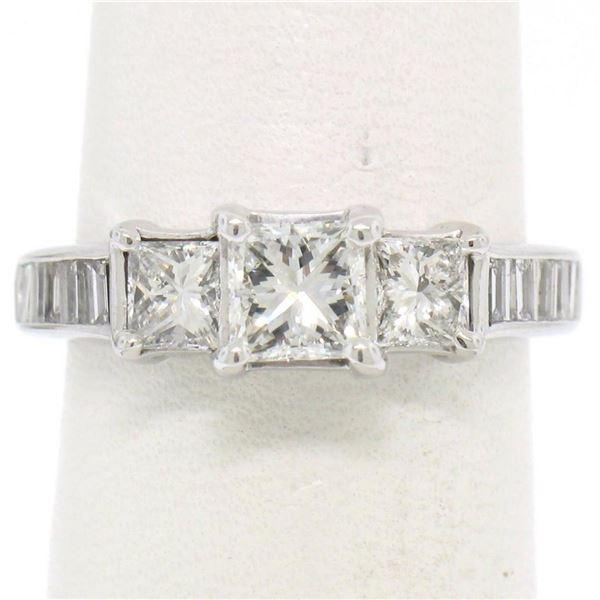 14k White Gold 1.45 ctw 3 Princess Diamond Engagement Ring w/ Baguette Accents