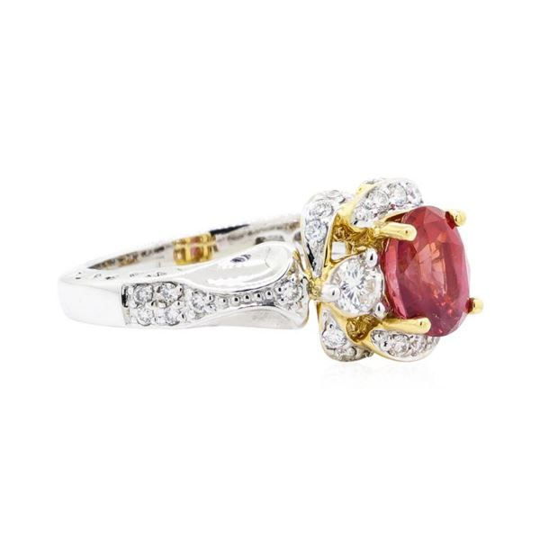 2.37 ctw Oval Mixed Orange Sapphire And Round Brilliant Cut Diamond Ring - 18KT