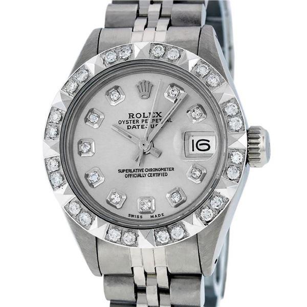 Rolex Ladies 26 Stainless Steel Silver Pyramid Diamond Datejust Wristwatch Servi