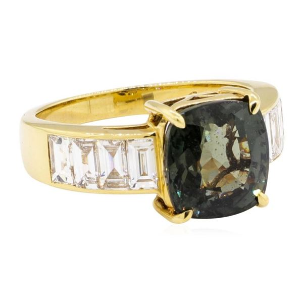 6.62 ctw Square Cushion Mixed Color Change Sapphire And Emerald Cut Diamond Ring