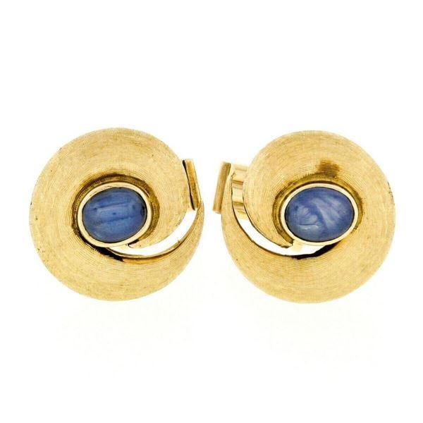 Vintage 14kt Yellow Gold Oval Blue Star Sapphire Florentine Swirl Cuff Links