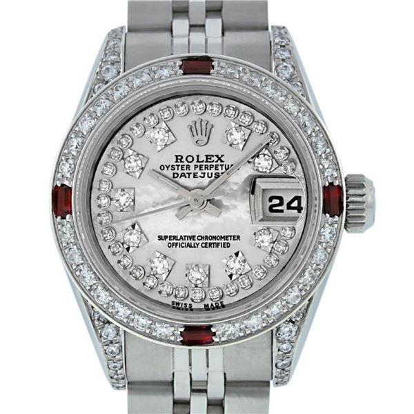 Rolex Ladies 26 Quickset Datejust MOP String Diamond Lugs And Ruby Datejust