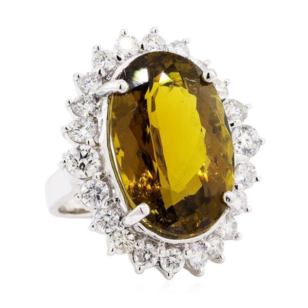 25.30 ctw Oval Mixed Golden Tourmaline And Round Brilliant Cut Diamond Ring - 14