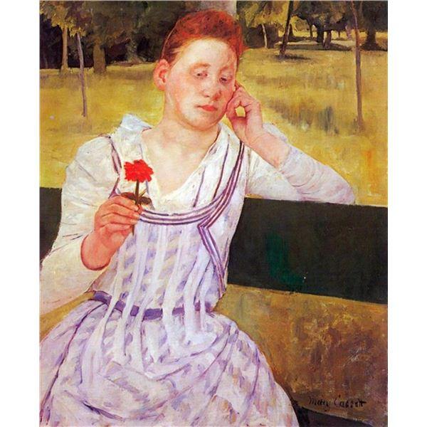 Mary Cassatt - Woman With Red Zinnia