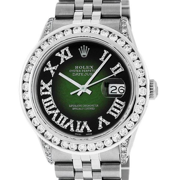 Rolex Mens Stainless Steel 3 ctw Green Vignette Roman Diamond Datejust Wristwatc