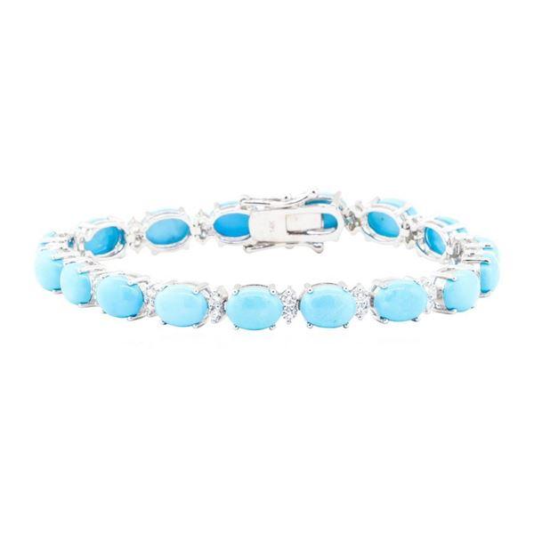 20.80 ctw Turquoise And Diamond Bracelet - 14KT White Gold
