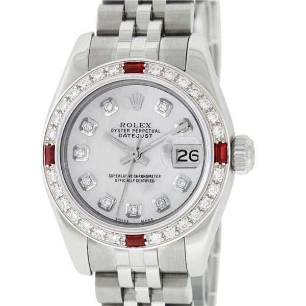 Rolex New Style Ladies 26 Mother Of Pearl Diamond And Ruby Datejust Oyster Perpe