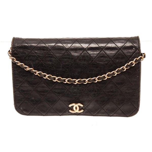 Chanel Black Lambskin Flap Shoulder Bag