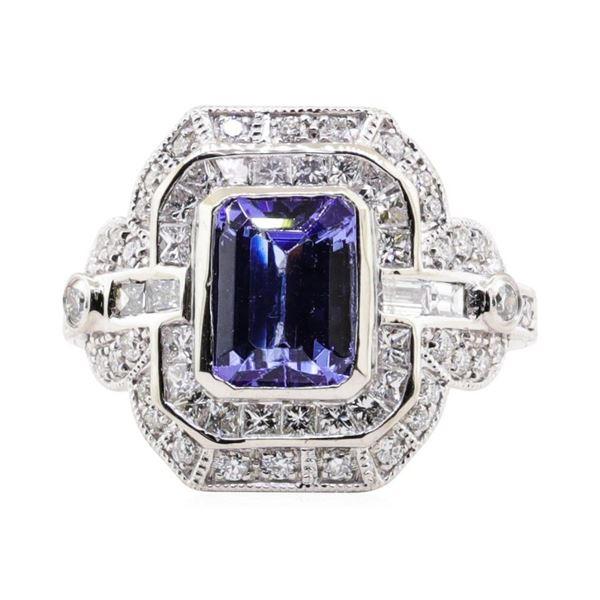 1.99 ctw Tanzanite and Diamond Ring - Platinum