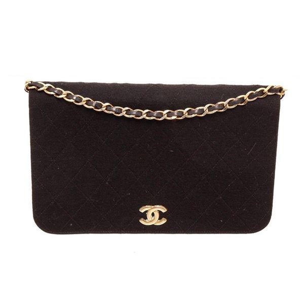 Chanel Black Fabric Full Flap Shoulder Bag