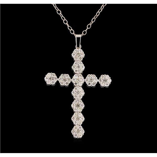 2.23 ctw Diamond Cross Pendant With Chain - 14KT White Gold