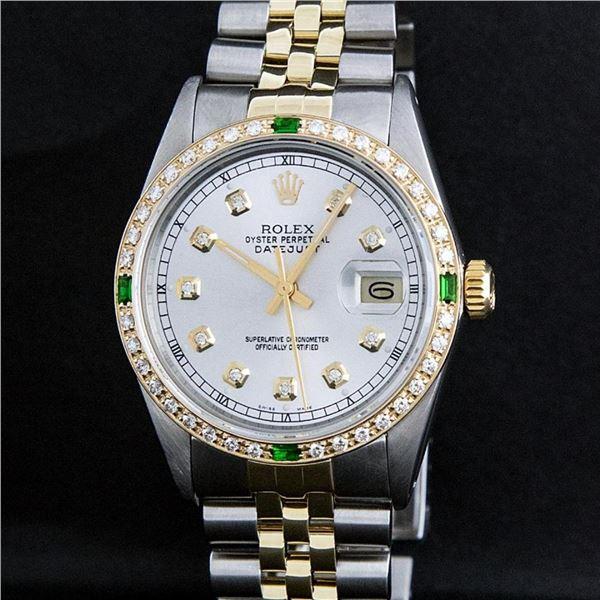 Rolex Mens 2 Tone Silver & Emerald Diamond 36 Oyster Perpetual Datejust Wriswatc