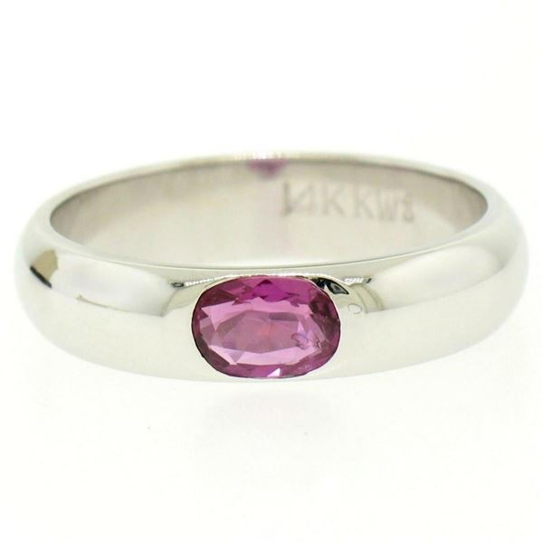 14K White Gold 0.62 ctw Oval Burnish Set Light Burgundy Ruby Solitaire Band Ring