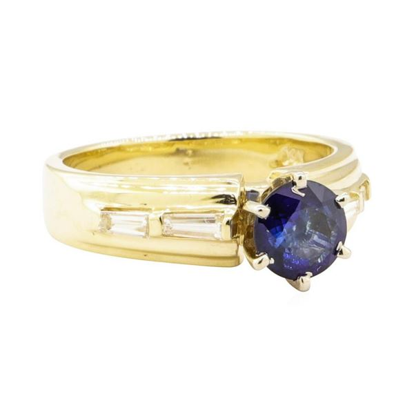 1.08 ctw Blue Sapphire and Diamond Ring - 14KT Yellow Gold