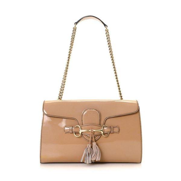 Gucci Beige Leather Horsebit Shoulder Bag