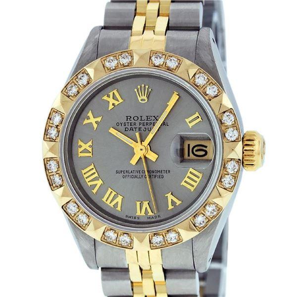 Rolex Ladies 2 Tone Gray & Pyramid Diamond Oyster Perpetual Datejust Wriswatch 2