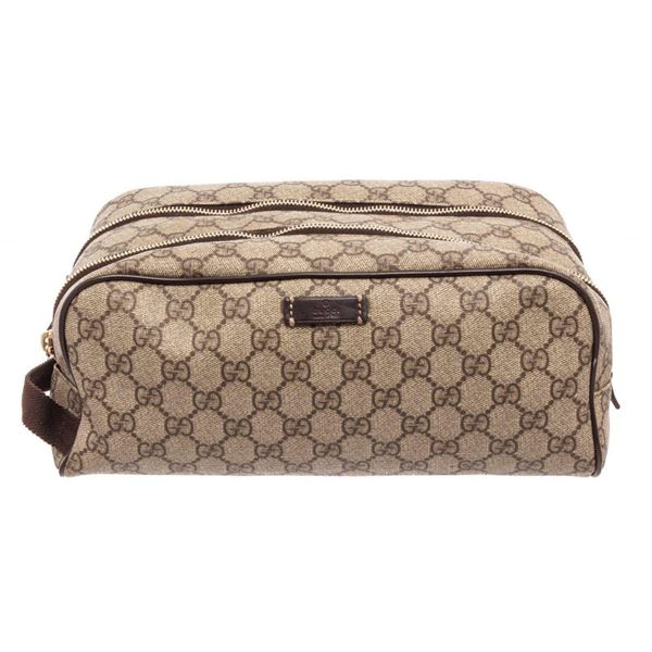 Gucci GG Beige Supreme Leather Toiletry Pouch Cosmetic Bag
