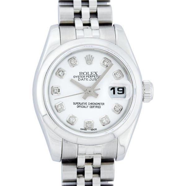 Rolex Ladies Stainless Steel White Diamond Quickset Datejust Wristwatch