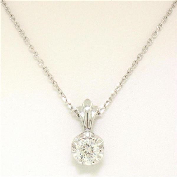 NEW 14k White Gold .45 ctw F VS2 Round Diamond Illusion Solitaire Pendant & Chai