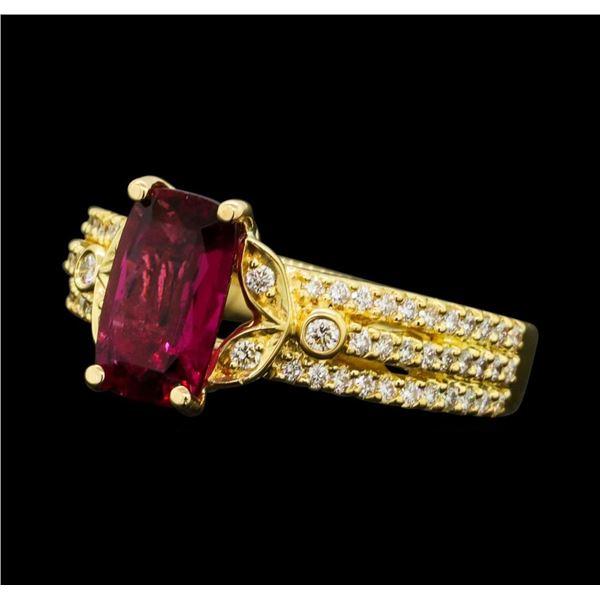1.50 ctw Pink Tourmaline And Diamond Ring - 18KT Yellow Gold