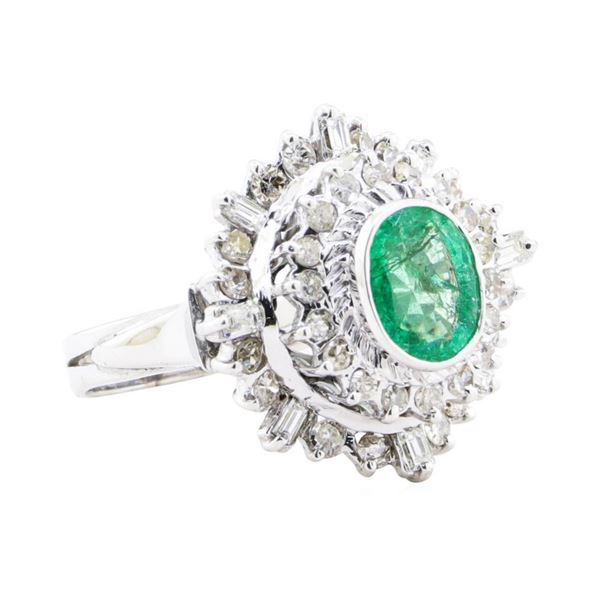 2.84 ctw Emerald And Diamond Double Halo Ring - 14KT White Gold