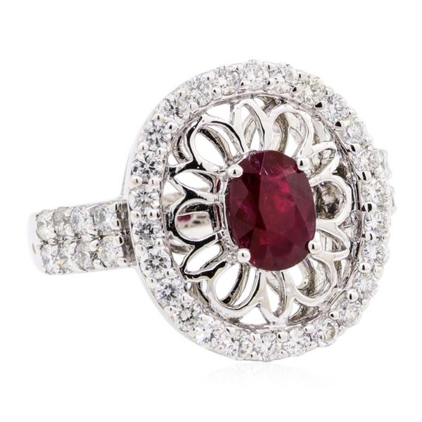 1.78 ctw Oval Mixed Ruby And Round Brilliant Cut Diamond Ring - 14KT White Gold