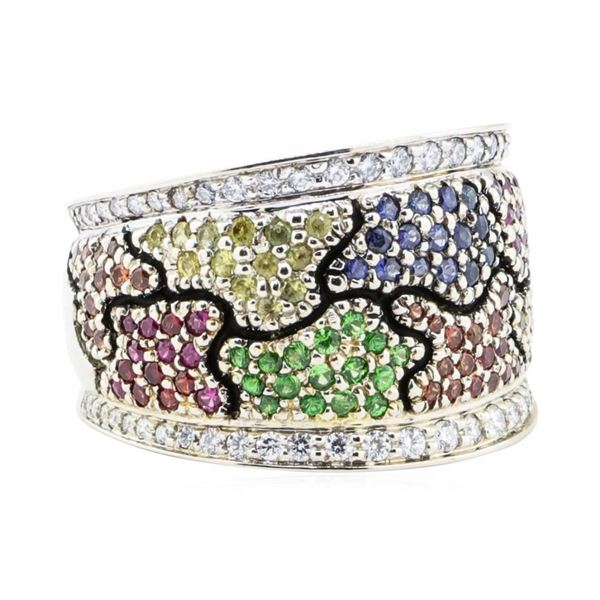 1.64 ctw Multi-colored Gemstone and Diamond Wide Band - 18KT Yellow And White Go
