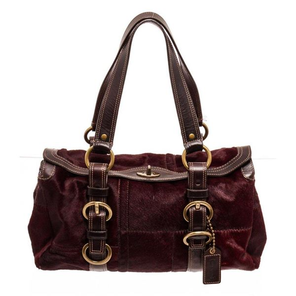 Coach Red Limited Edition Pony Hair Turnlock Satchel