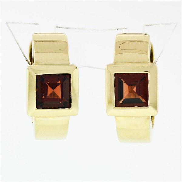 14k Yellow Gold 2.50 ctw Square Step Cut Brownish Red Garnet Cuff Huggie Earring