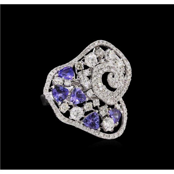 14KT White Gold 1.60 ctw Tanzanite and Diamond Ring