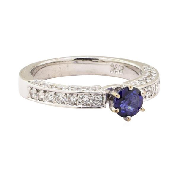 1.20 ctw Blue Sapphire And Diamond Ring - 14KT White Gold