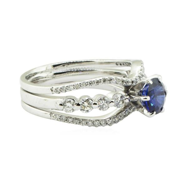 1.64 ctw Round Brilliant Blue Sapphire And Diamond Ring - 18KT White Gold